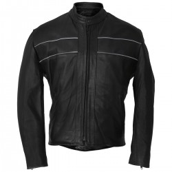 Men's Reflective Black Leather Jacket
