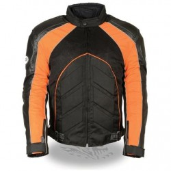 Men's Combo Black/Orange Armored Leather/Textile/Mesh Jacket