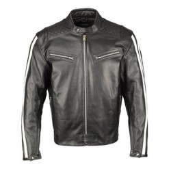 Mens Black and White Armored Leather Jacket with Racing Stripes