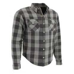 Men's Black and Grey Armored Checkered Flannel Biker Shirt w/ by DuPont™ Fibers