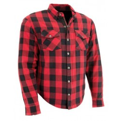 Men's Black and Red Armored Checkered Flannel Biker Shirt w/ Aramid® by DuPont™ Fibers