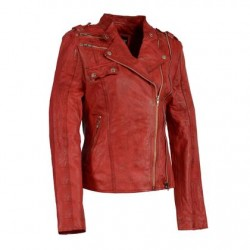 Ladies Distressed Red Leather Motorcycle Jacket Look with Asymmetrical Zipper