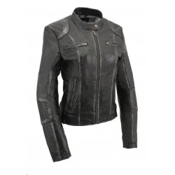 Black Women's Sheepskin Scuba Style Moto Jacket