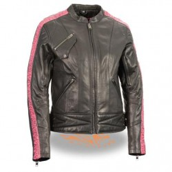 Ladies Lightweight Black and Pink Racer Jacket