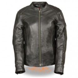Women's 3/4 Length Vented Black Leather Motorcycle Jacket