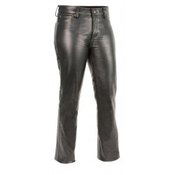 Ladies Classic 5 Pocket Leather Pants Black