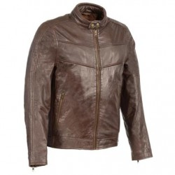 Men's Brown Leather Stand Up Collar Leather Jacket