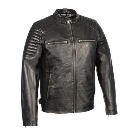 Men's Black Leather Snap Collar Jacket with Quilted Shoulders