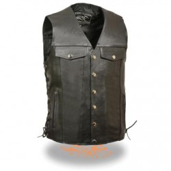 Men's Side Lace Vest w/ Denim Style Pockets