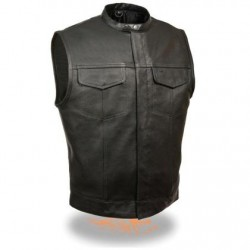Men's Snap Collar Concealed Black Leather Vest
