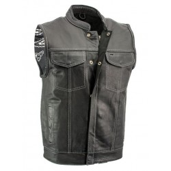 Men's Black Leather Motorcycle Vest with White Stitching