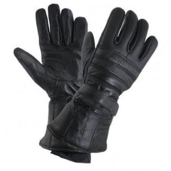 Men's Black Leather Gloves with Rain Cover and Long Cuff