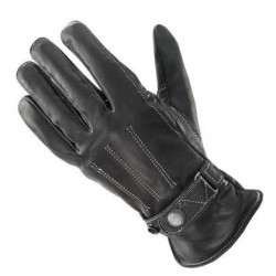 Women's Black Classic Button Snap Leather Motorcycle Gloves
