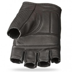 Men's Black Leather Fingerless Gloves
