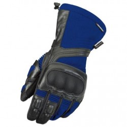 Men's Black/Blue Leather/Textile Gloves