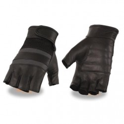 Men's Leather & Mesh Fingerless Gloves with Gel Palm