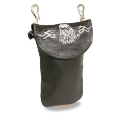 Leather Belt Bag w/ Eagle Head & Double Clasps (7.5X6)