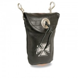 Leather Belt Bag w/ Iron Cross & Double Clasps (7.5X6)