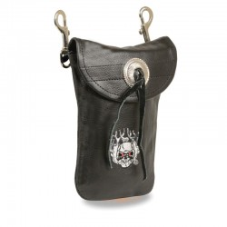 Leather Belt Bag w/ Flaming Skull & Double Clasps (7.5X6)