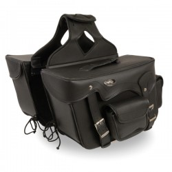 Double Front Pocket PVC Throw Over Saddle Bag