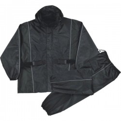 Men's Black Waterproof Rain Suit w/ Reflective Piping & Heat Guard