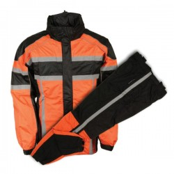Men's Black & Orange Rain Suit Water Resistant