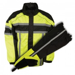 Men's Black & Neon Green Rain Suit Water Resistant