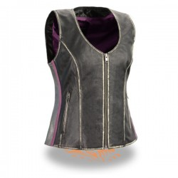 Women's Rub-off Black & Silver Zipper Front Vest