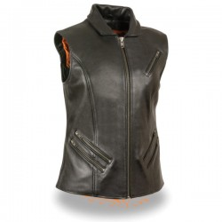 Women's Extra Long Zipper Front Vest w/ Collar