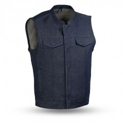 Denim Motorcycle Vest - Blue