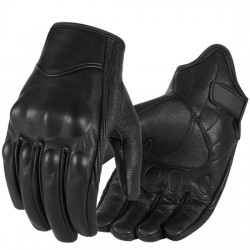 Black Leather Bike Riding Cycling Biking MTB Motorbike Hand Gloves