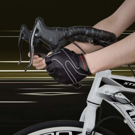 Cycling Mountain Bicycle Road Black Half Finger Anti-Slip Shock-Absorbing Breathable Unisex Glove