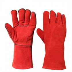 Red Heat Resistant Hand Safety Protective Leather Work Welding Gloves