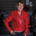 Women′s Red Leather Motorcycle Jacket