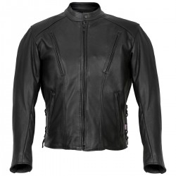Side Lace Black Leather Jacket