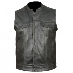 Leathers Men's Classic Club Black Leather Vest